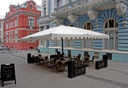 The giant umbrella from the company Scolaro (Italy), model name is Capri
